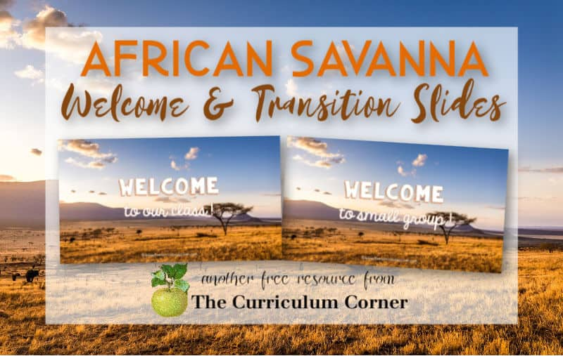 Virtual sub plans - African savanna welcome and transition slides