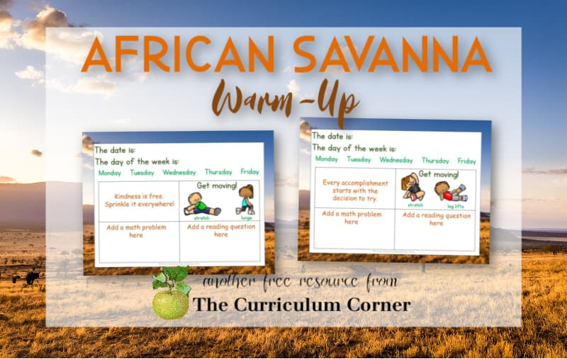 Virtual sub plans - African savanna editable warm up slides