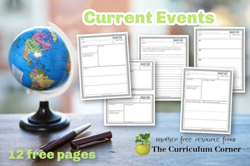 Download these free printable current events worksheets to help children record their learning in the classroom. Free pages from The Curriculum Corner.