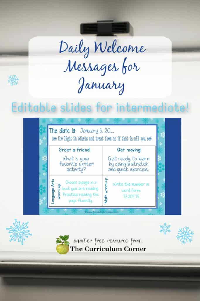 This set of free and editable Intermediate January Daily Welcome Messages is an easy way to get your students to enter the classroom and focus on the day ahead.