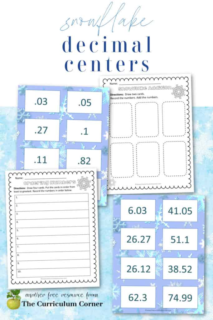 Download this snowflake decimal center set to give your students practice working with decimals.