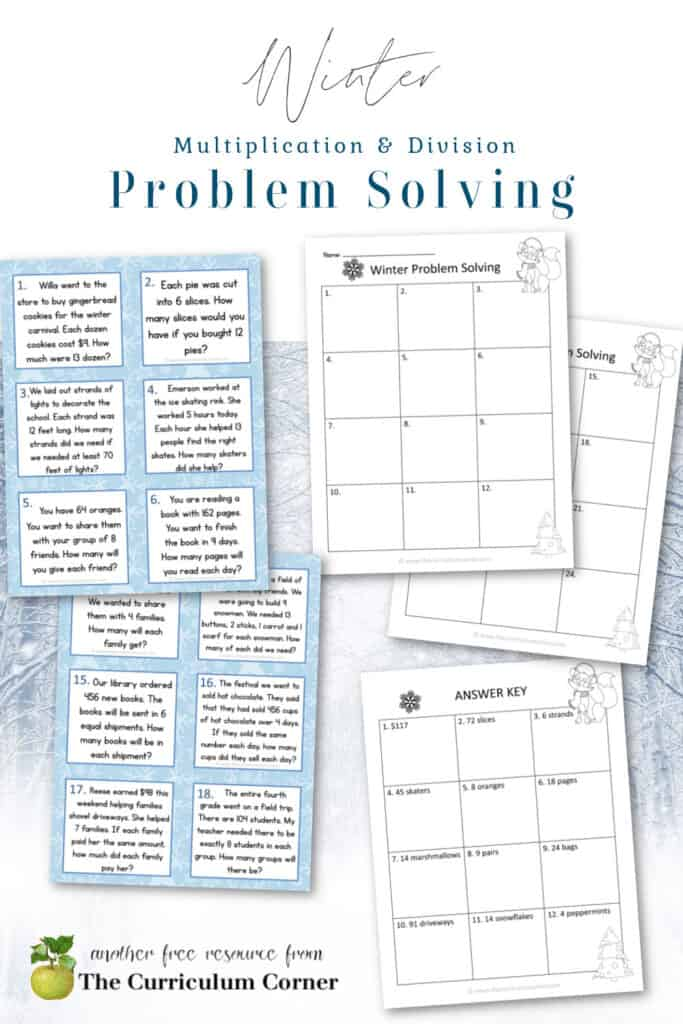 These winter problem solving task cards are designed to give your fourth grade math students extra practice with multiplication and division word problems.