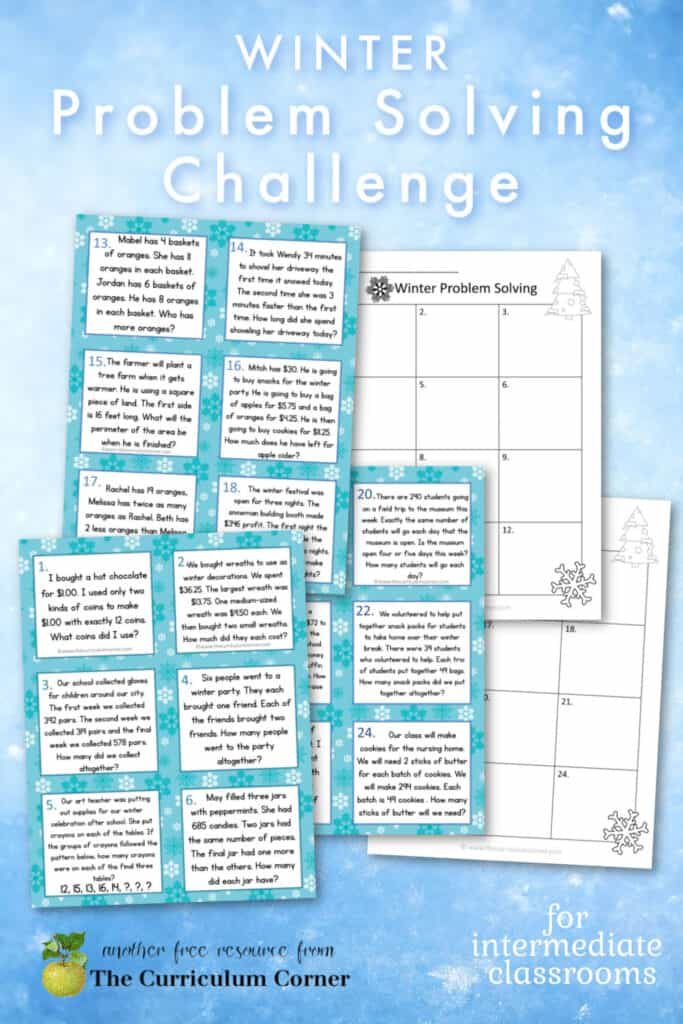 Download these challenging winter problem solving task cards for your intermediate math classroom.  Free from The Curriculum Corner.
