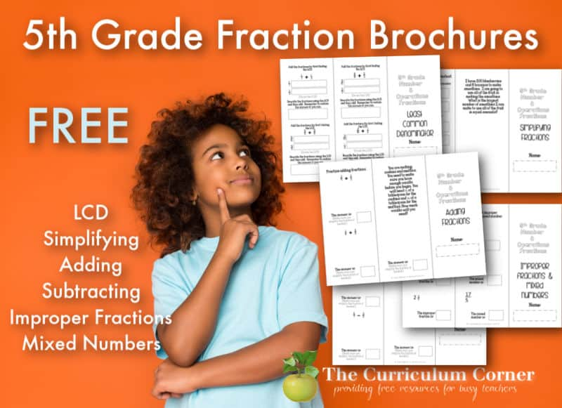 Provide your students with 5th grade fraction practice by printing these free math skill brochures.