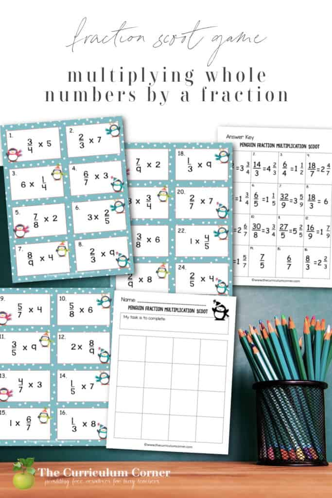 This Penguin Multiplying Fractions Scoot game (multiplying fractions by whole numbers) is great for practice or review this winter in your fourth or fifth grade classroom!