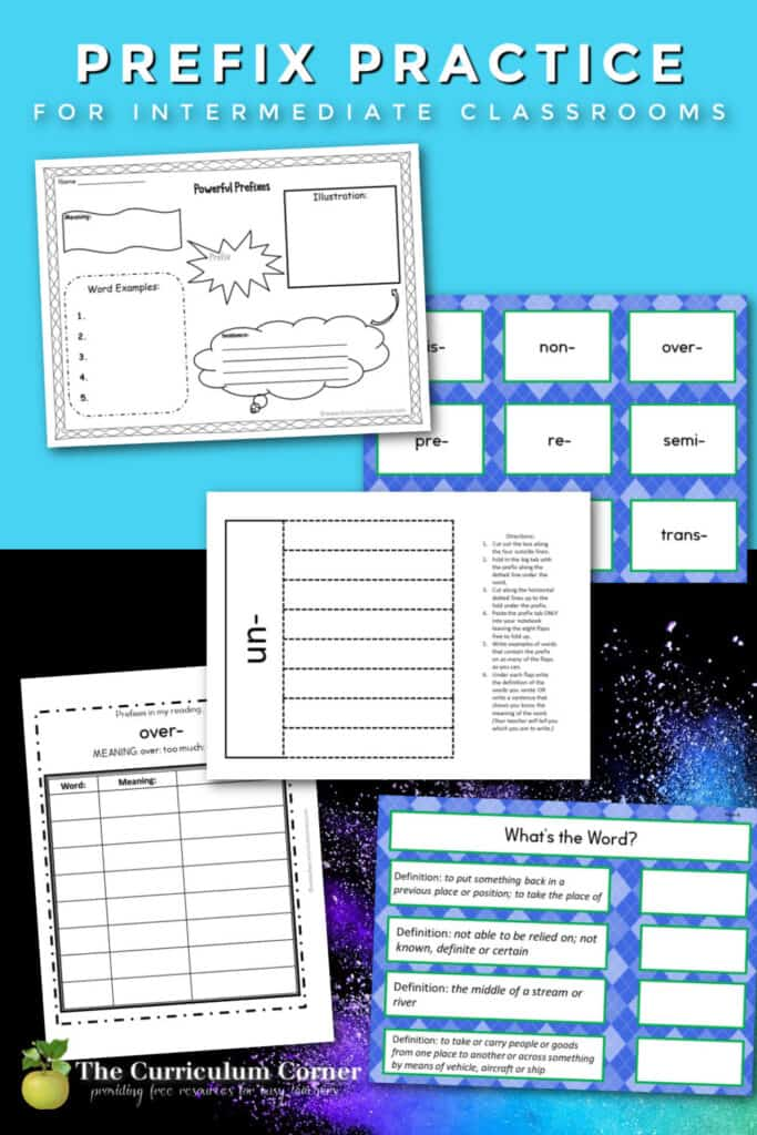 Use this free collection of printable prefix practice resources for prefix practice in your fourth, fifth or sixth grade classroom.
