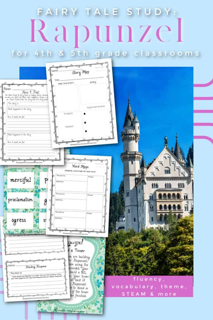 This fairy tale study focuses on the story of Rapunzel (Rapunzel Fairy Tale Study), the book we used to create these activities was created by Cari Meister.