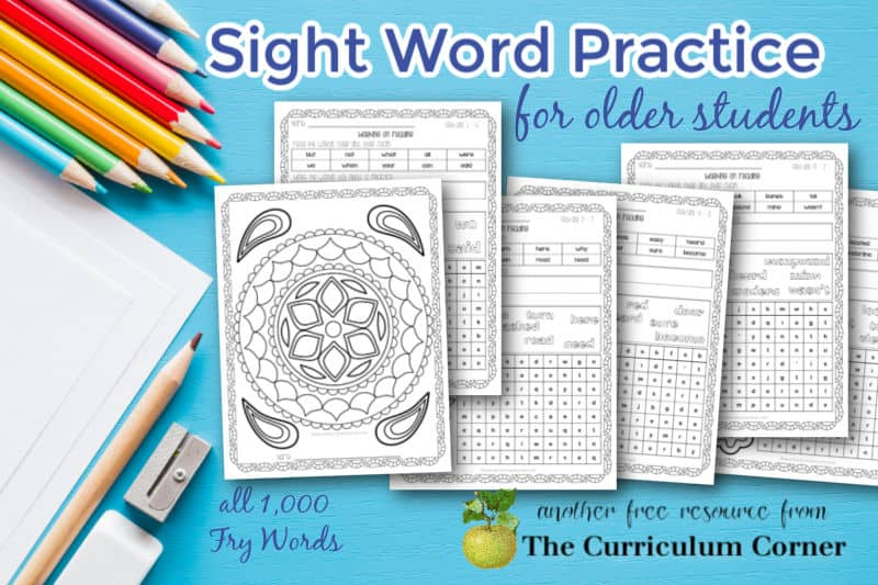 Download this collection for sight word practice for older students in the intermediate grades or middle school.