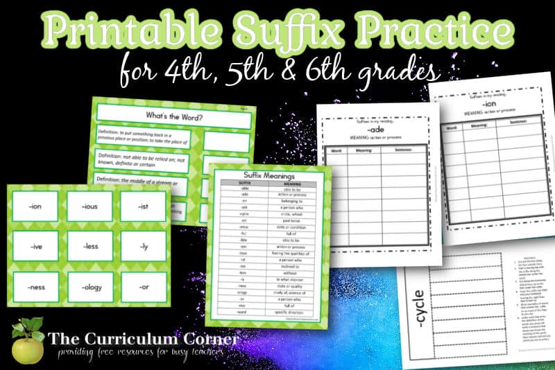 Use this free collection of printable suffix practice resources for prefix practice in your fourth, fifth or sixth grade classroom.