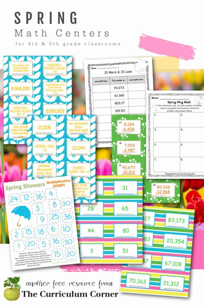 Download these free spring math centers to help your children work on a range of math skills in 4th and 5th grades.
