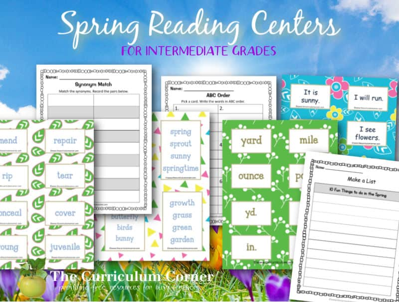 You can download this free set of spring reading centers to help your students work on a variety of language arts skills in or 4th and 5th grade.