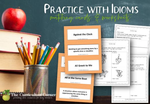 Download this set to provide practice with idioms to your students with a matching card set and printable worksheets.