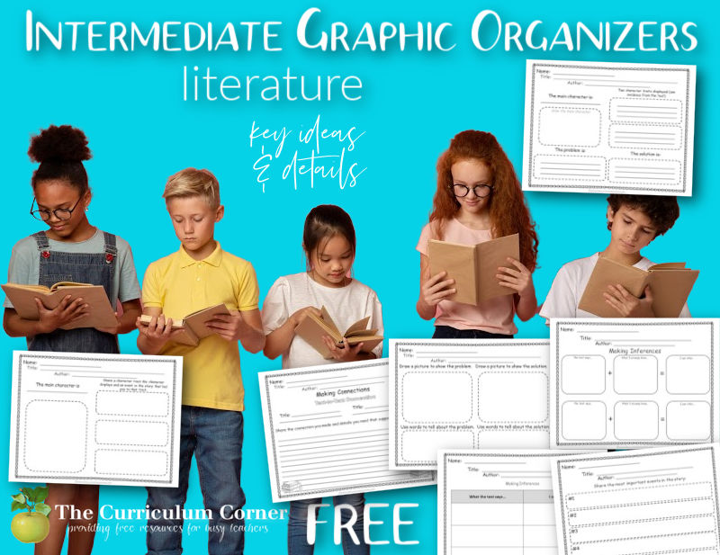 Download these 40 free literature graphic organizers for intermediate students to be used in your 4th, 5th or 6th grade reading workshop.