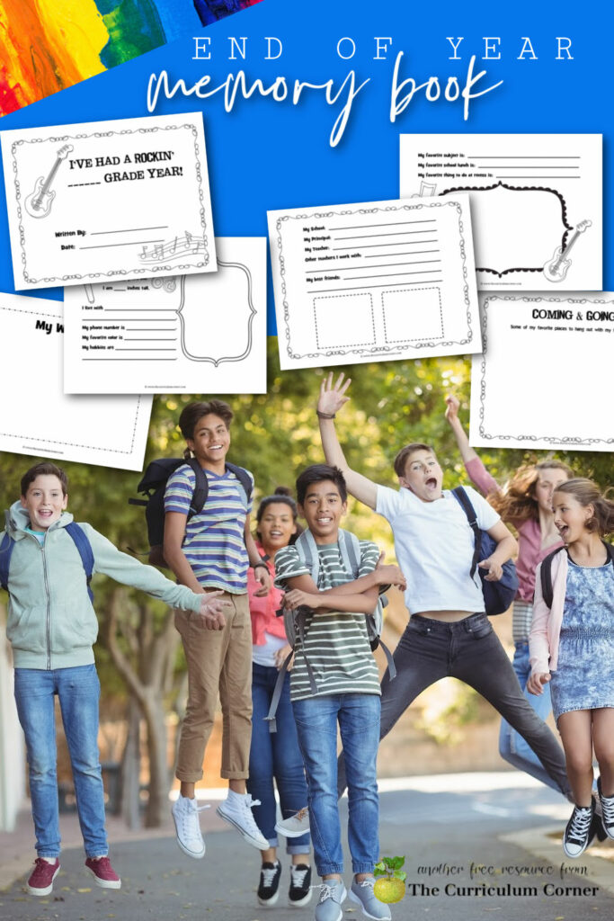 Teacher freebie! Download this free rockin' year end memory book to celebrate the end of the school year with your students.