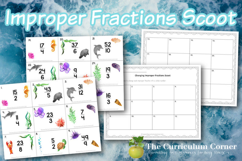 This improper fractions scoot will help your children practice changing improper fractions to mixed numbers.