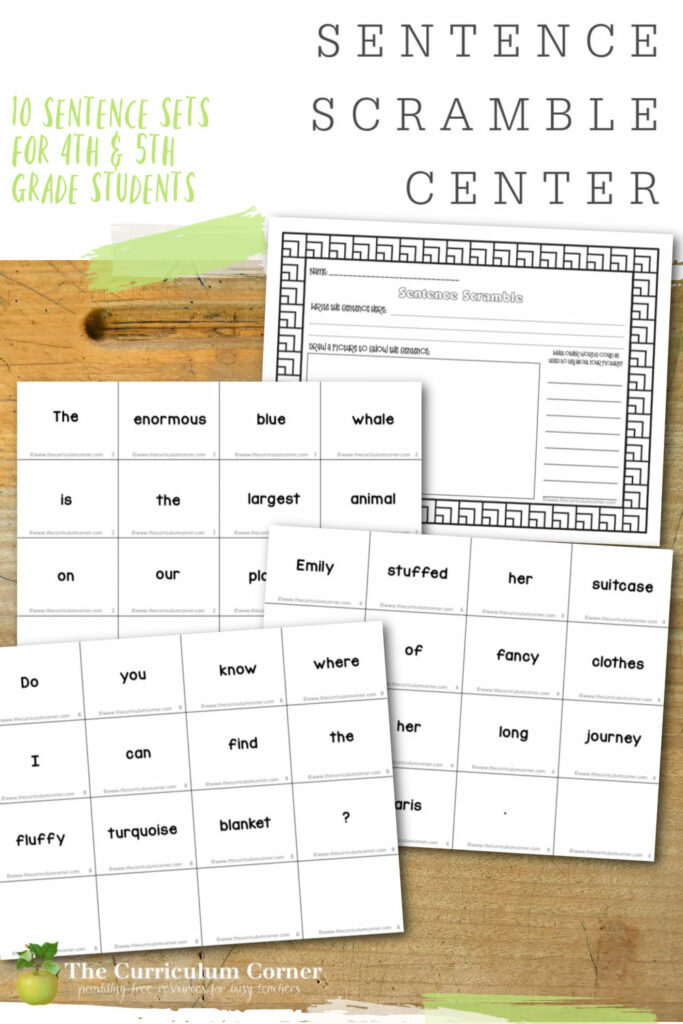 This sentence scramble center will provide your fourth and fifth grade students with an engaging sentence practice activity. Free from The Curriculum Corner.