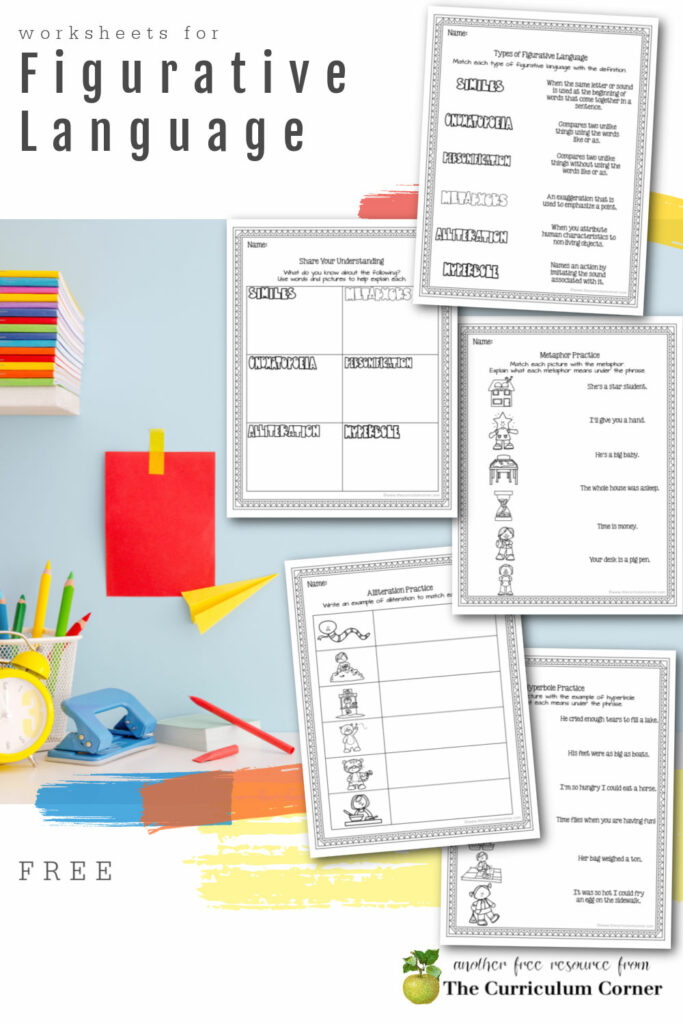 Download this free set of figurative language worksheets to help your students explore different forms of figurative language.
