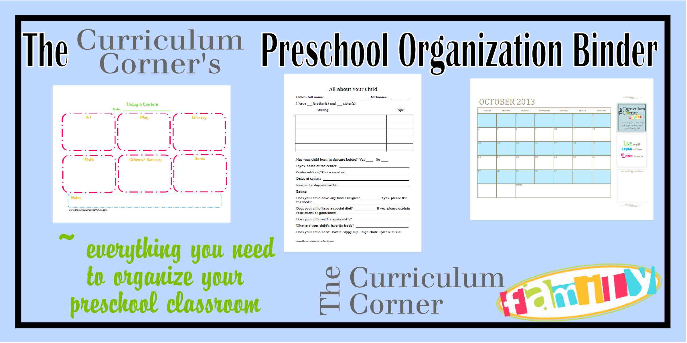 Preschool Organization Binder - The Kinder Corner