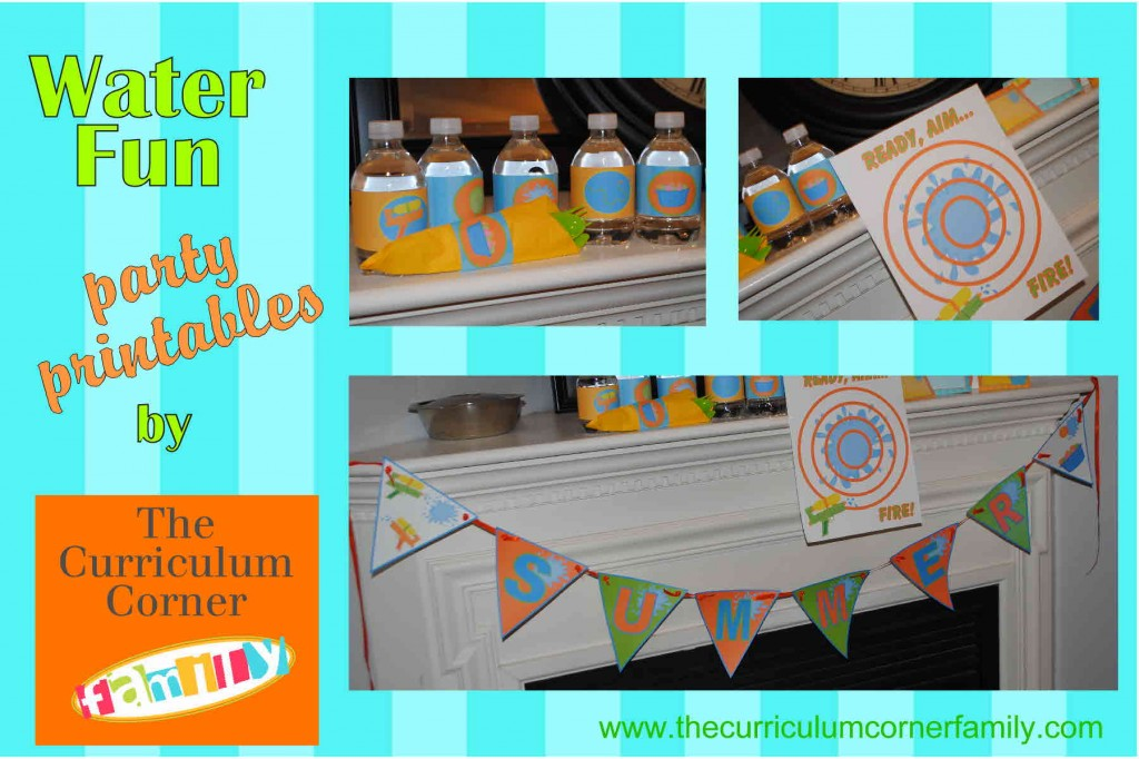 Water fun party printables by the curriculum corner family