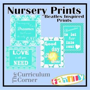 Beatles Inspired Nursery Prints by The Curriculum Corner