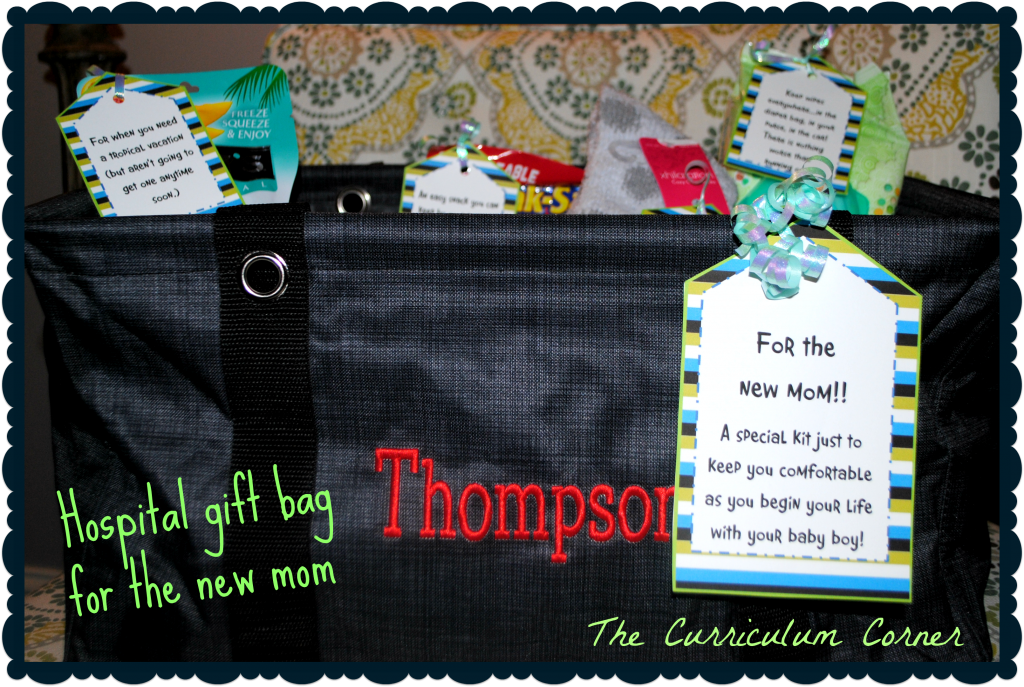 New Mom Gift Bag from The Curriculum Corner free printable tags!
