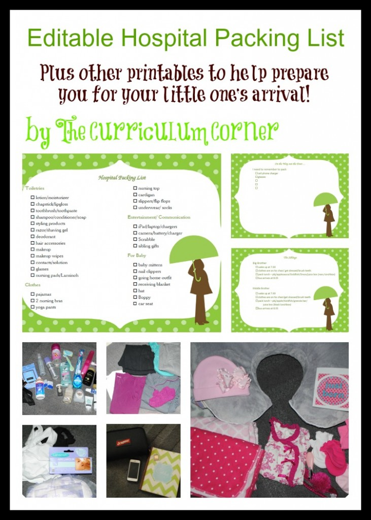 Editable Hospital Bag Packing Lists by The Curriculum Corner