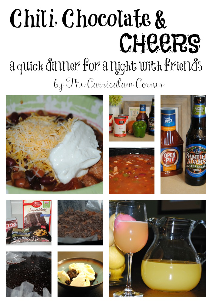 Chili, Chocolate & Cheers an easy entertaining menu for a night with friends by The Curriculum Corner