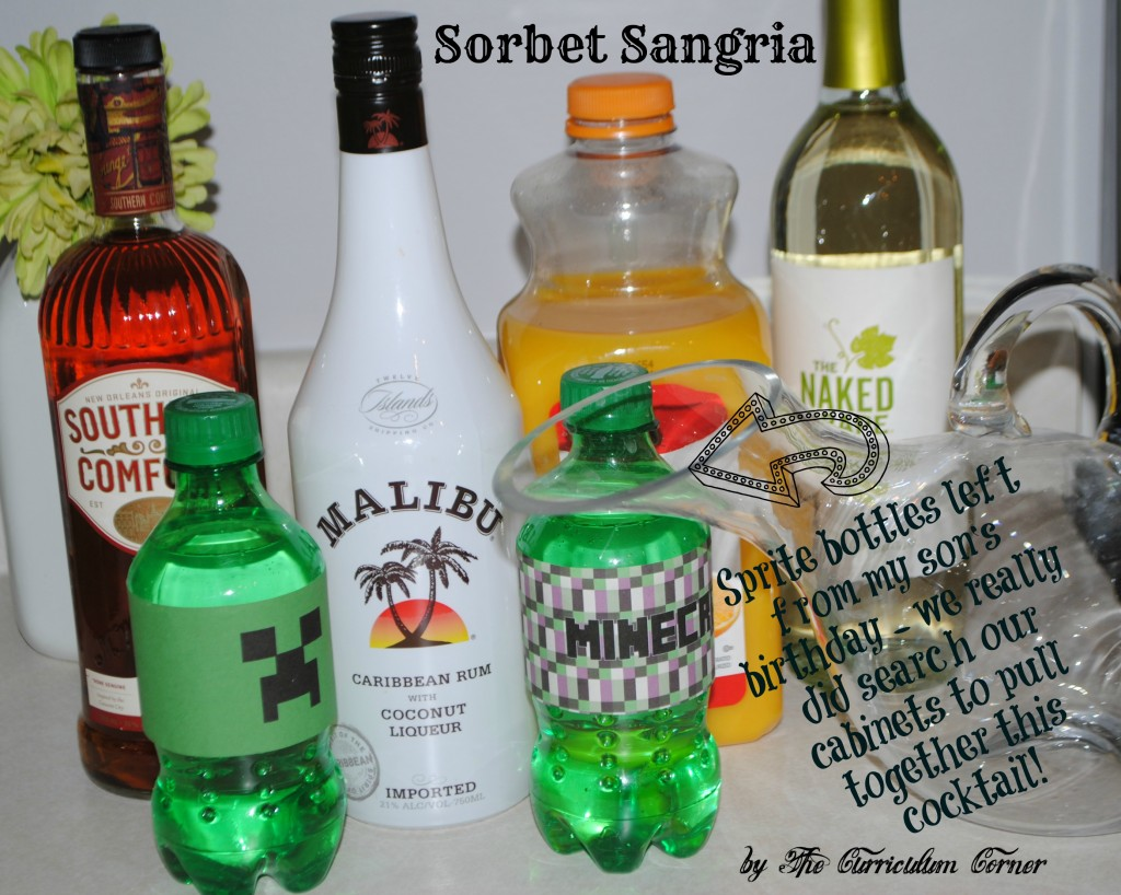 Sorbet Sangria recipe from The Curriculum Corner - This is an AMAZING cocktail!!!