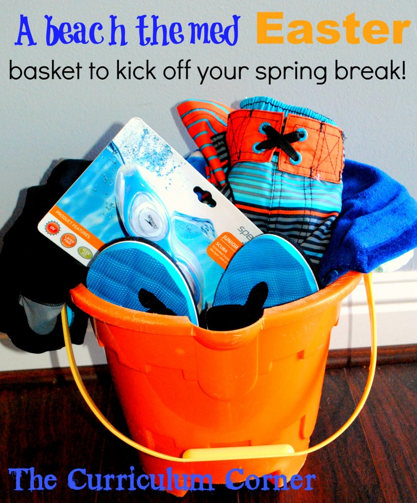 A beach themed Easter basket to kick off your spring break by The Curriculum Corner