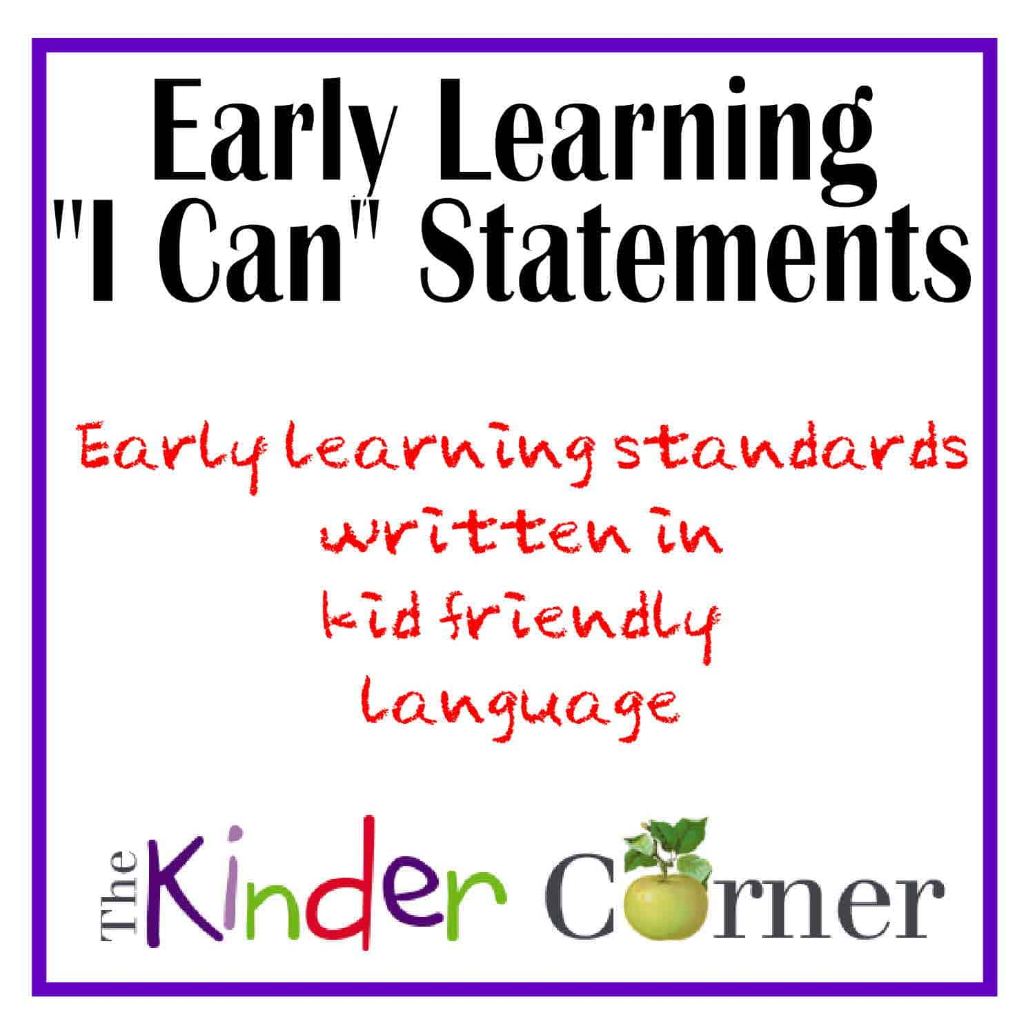 "Early Learning ""I Can"" Statements"