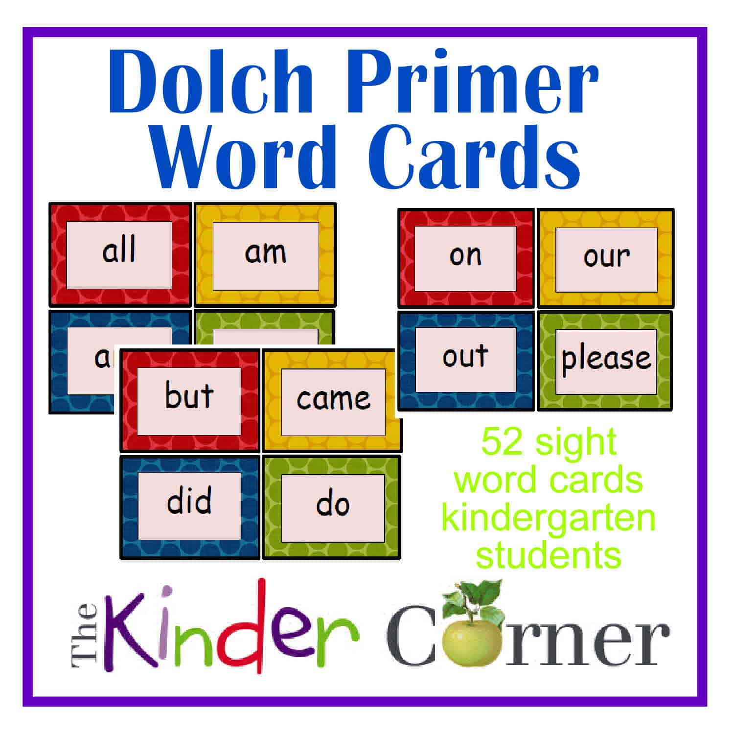 Dolch Primer Word Cards