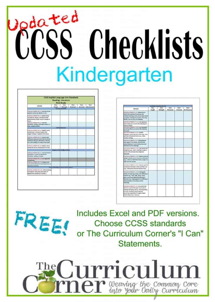 Updated Kindergarten Checklists CCSS AND I Cans The