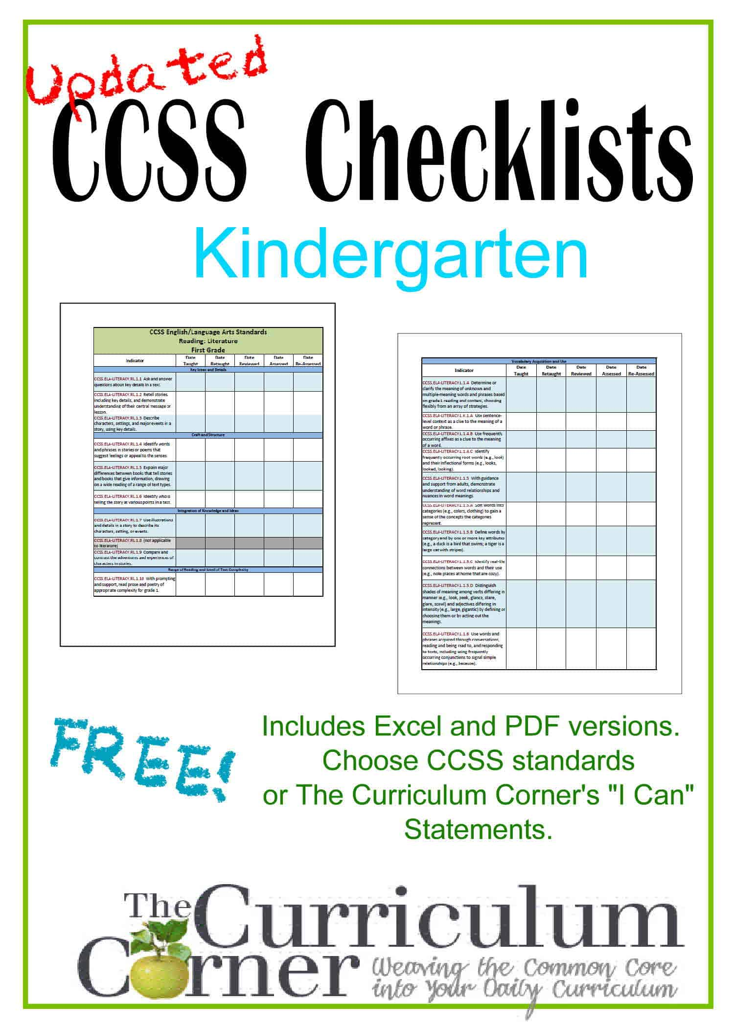 Updated Kindergarten Checklists – CCSS AND I Cans