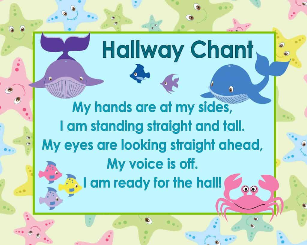 Free Hallway Chant Classroom Poster from www.thecurriculumcorner.com | procedures | early learning