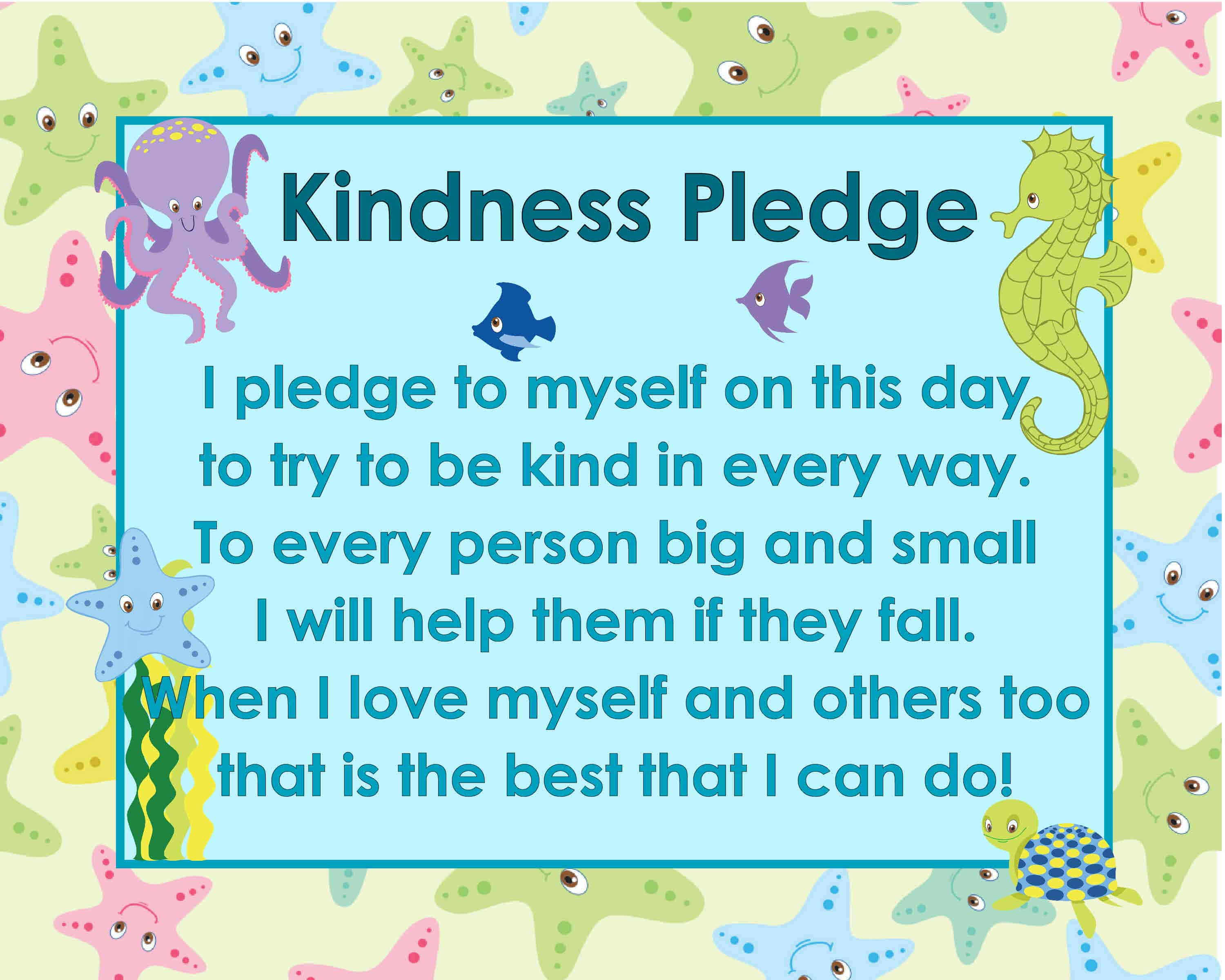 Ocean Themed Kindness Pledge Poster The Kinder Corner