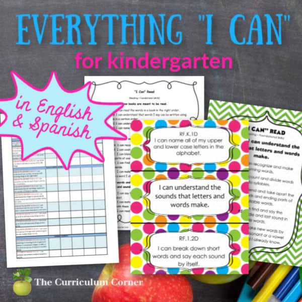 I Can Statement Standards for Kindergarten