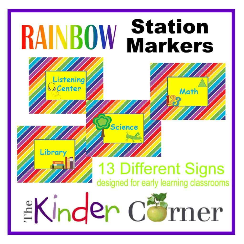 Rainbow Station / Center Markers for the Early Learning Classroom | 13 signs | Free from The Curriculum Corner