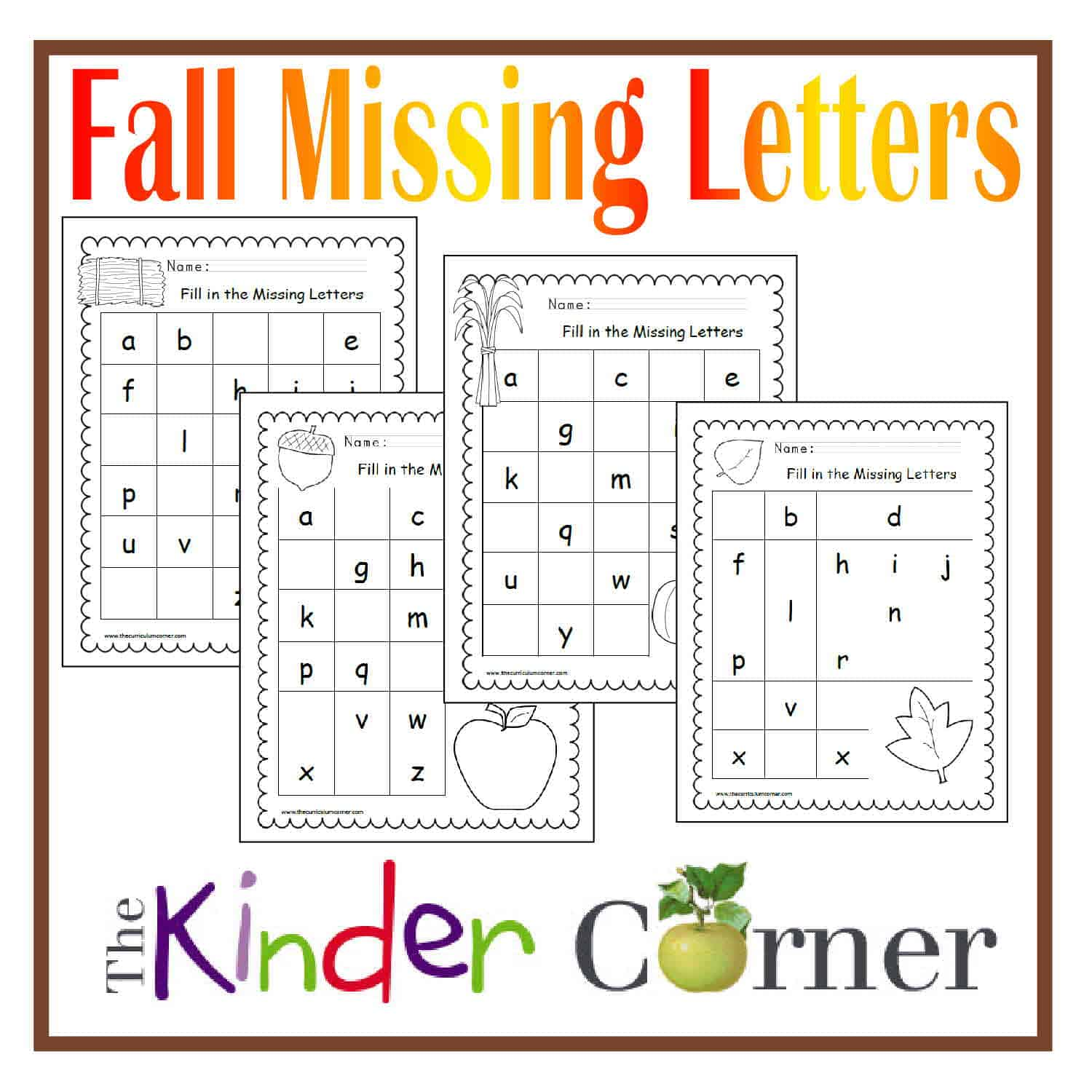 Fall Missing Letters Printable Practice Pages FREE from The Curriculum ...