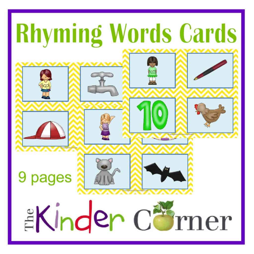 Rhyming Words Cards FREE from The Curriculum Corner