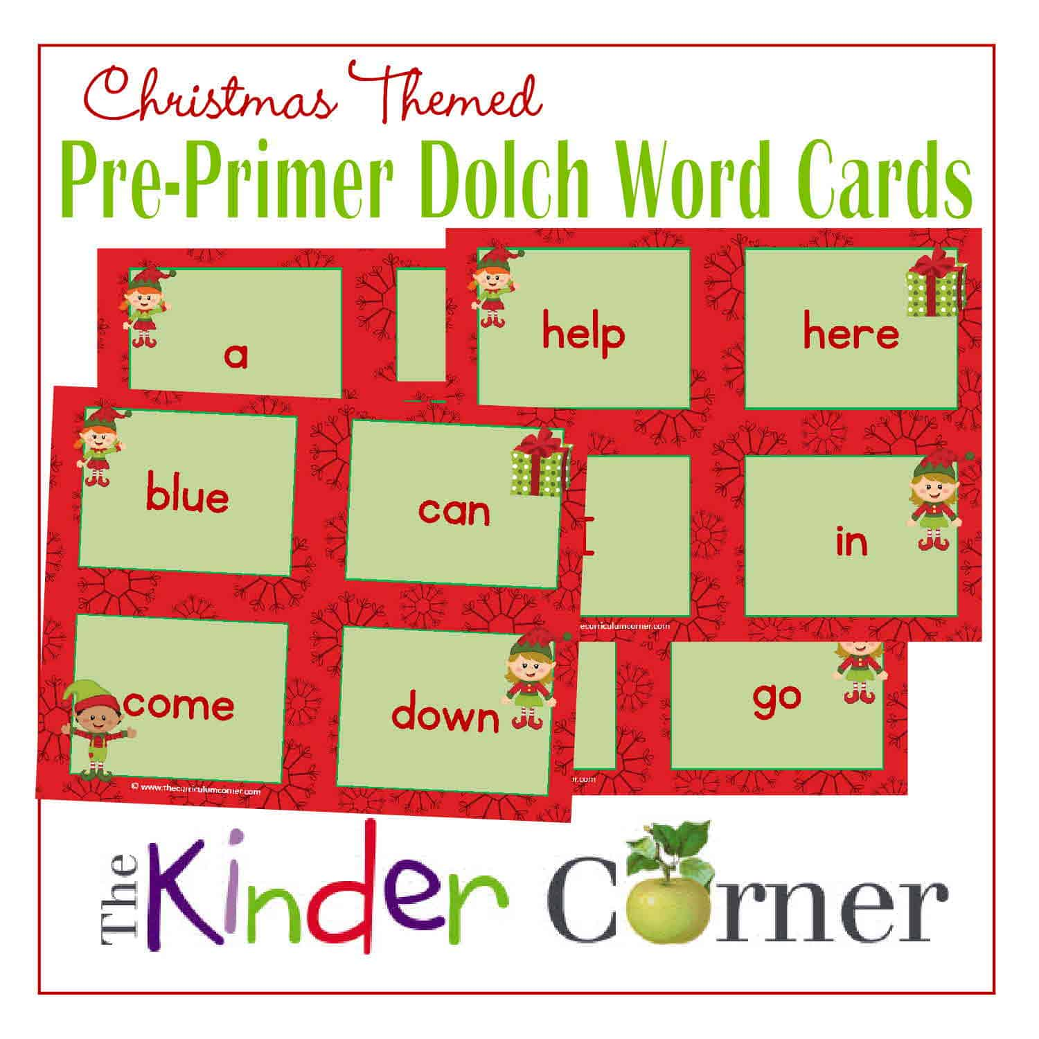 Pre-Primer Christmas Elf Dolch Word Cards