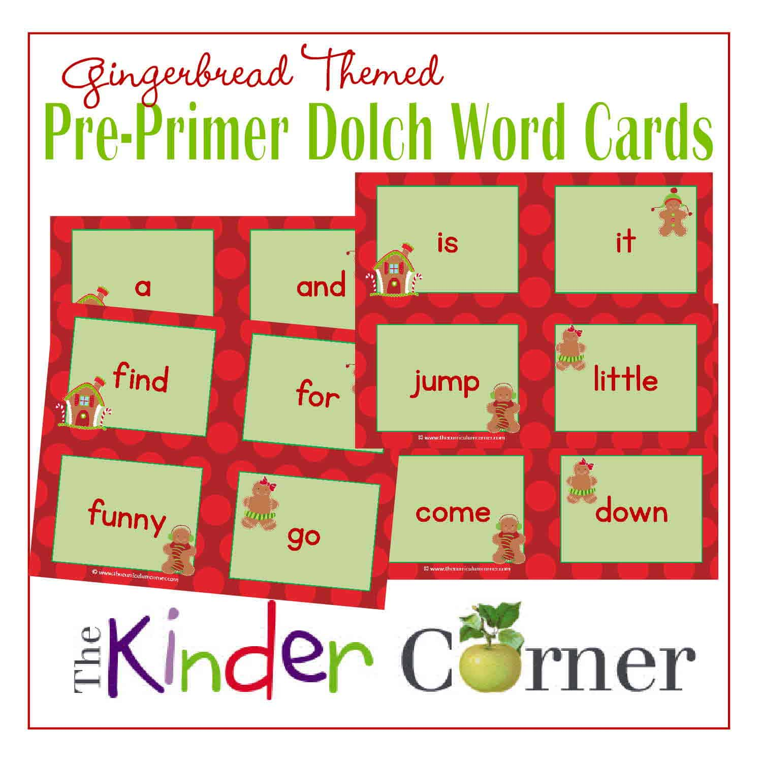 Pre-Primer Gingerbread Dolch Word Cards