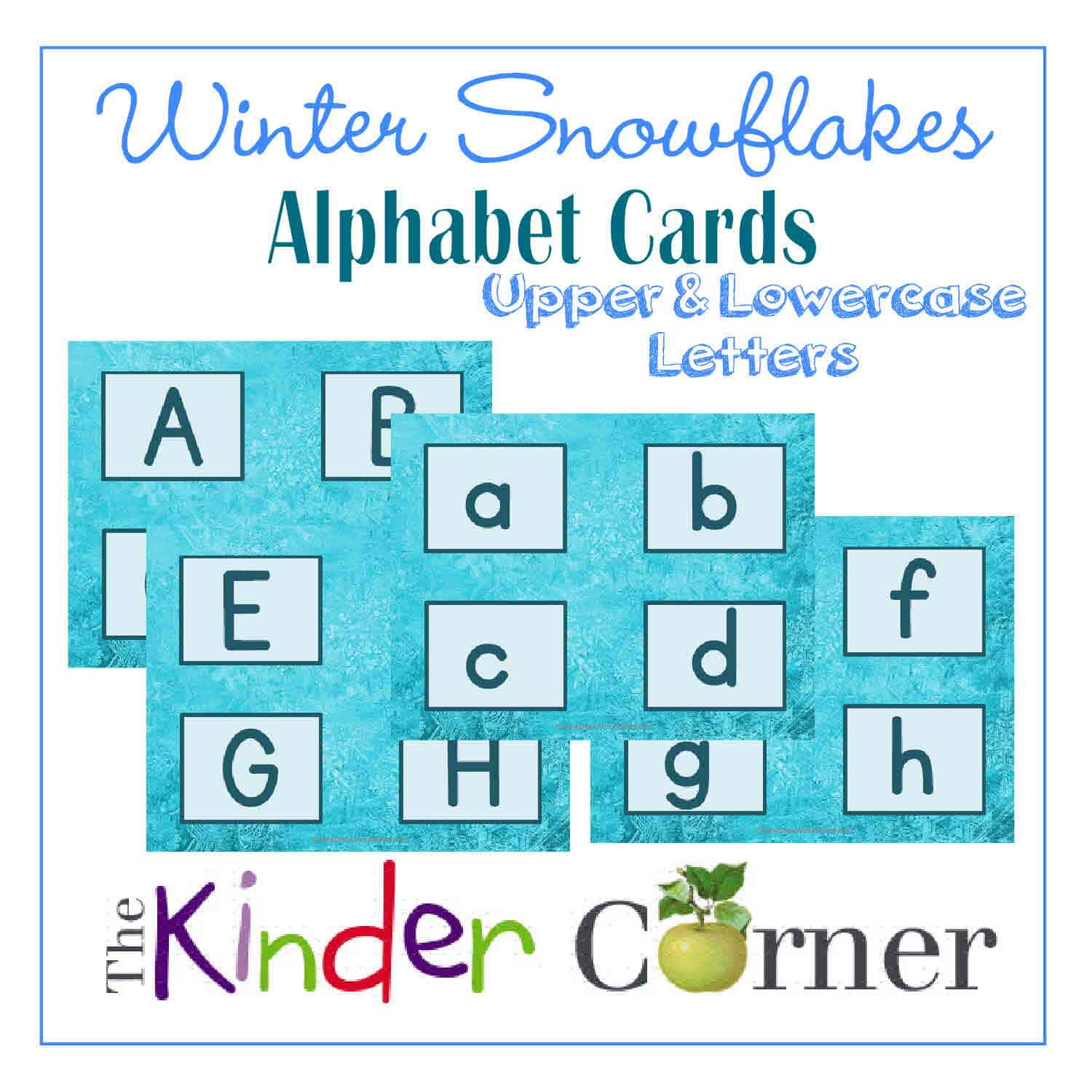 Winter Snowflakes Upper and Lowercase Letter Cards