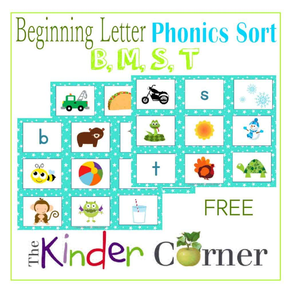 Beginning Letter Phonics Sort for B, M, S, T from The Curriculum Corner