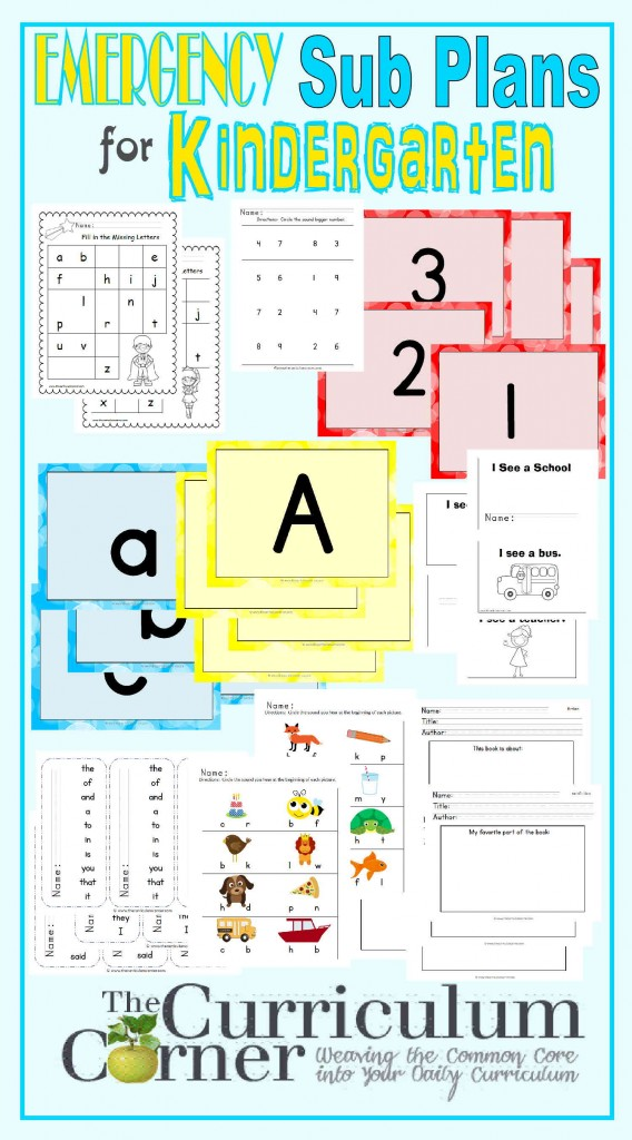 Kindergarten Emergency Sub Plans FREE from The Curriculum Corner   Check out these amazing plans for that last minute sick day!