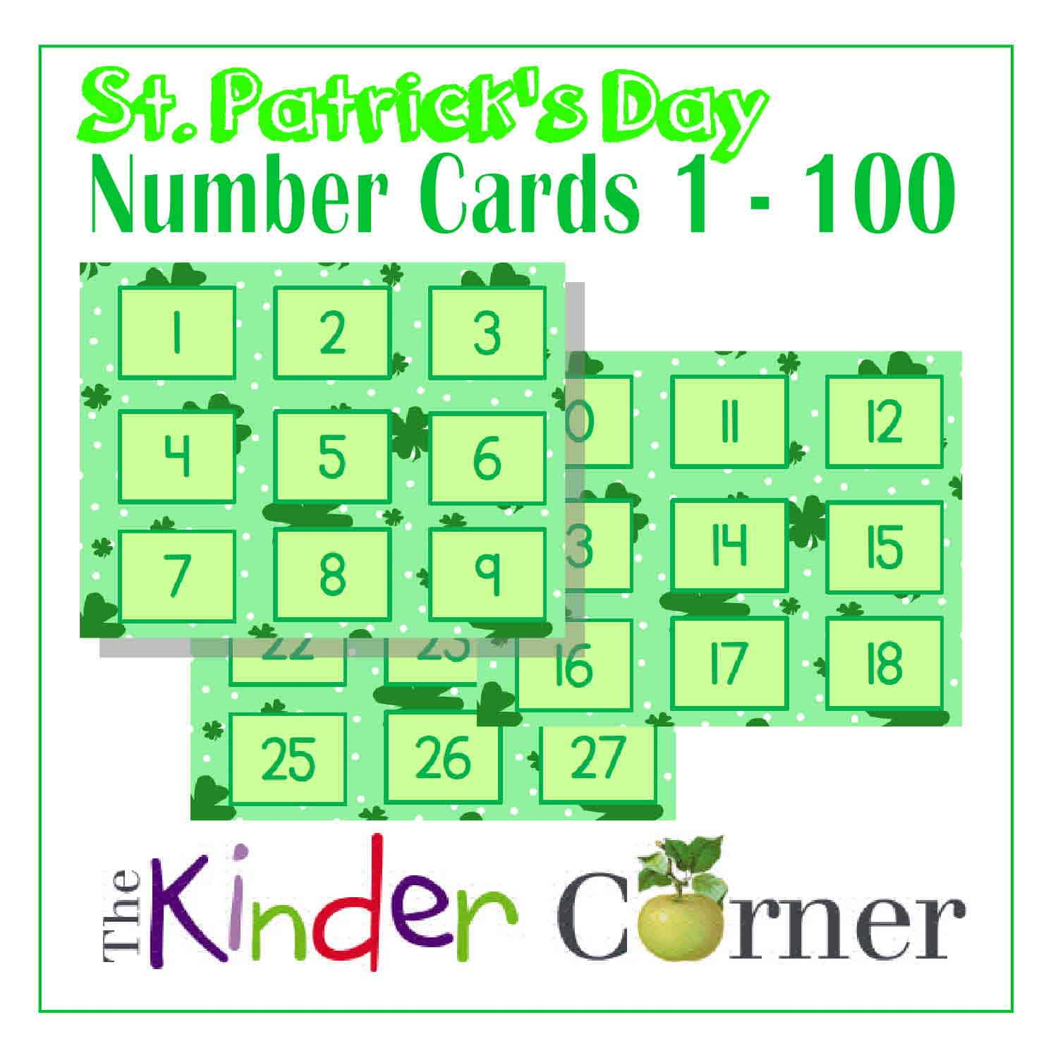 St. Patrick's Day Number Cards | 1 – 100