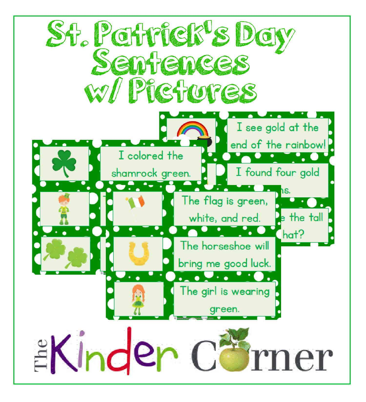 St. Patrick's Day Sentence Cards w/ Pictures