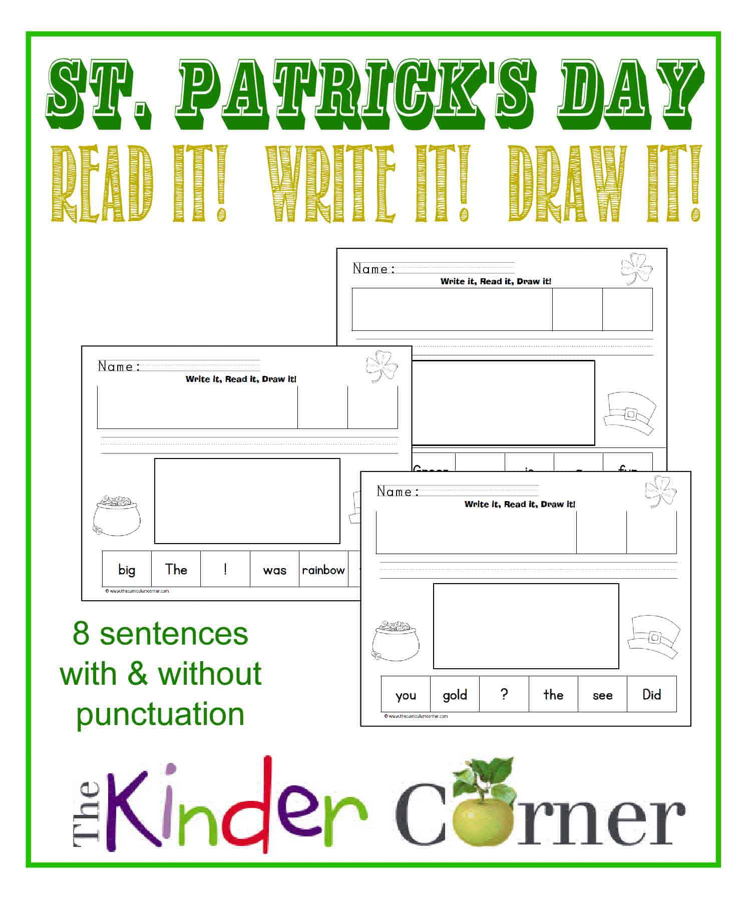 St. Patrick's Day Write, Read and Draw for Kindergarten