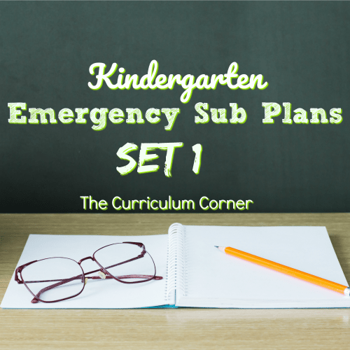 Kindergarten Emergency Sub Plans