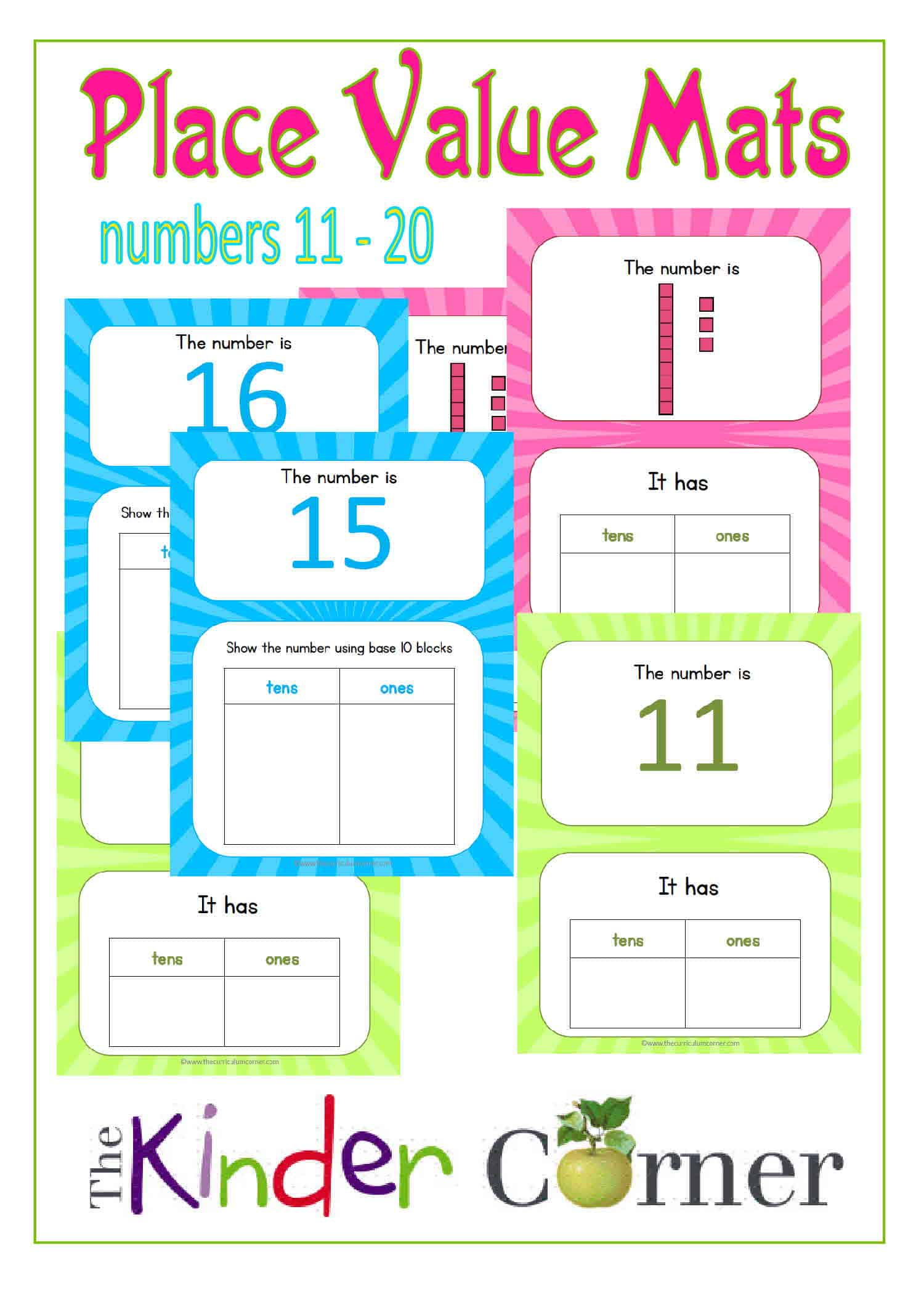 Place Value Mats for 11 – 20