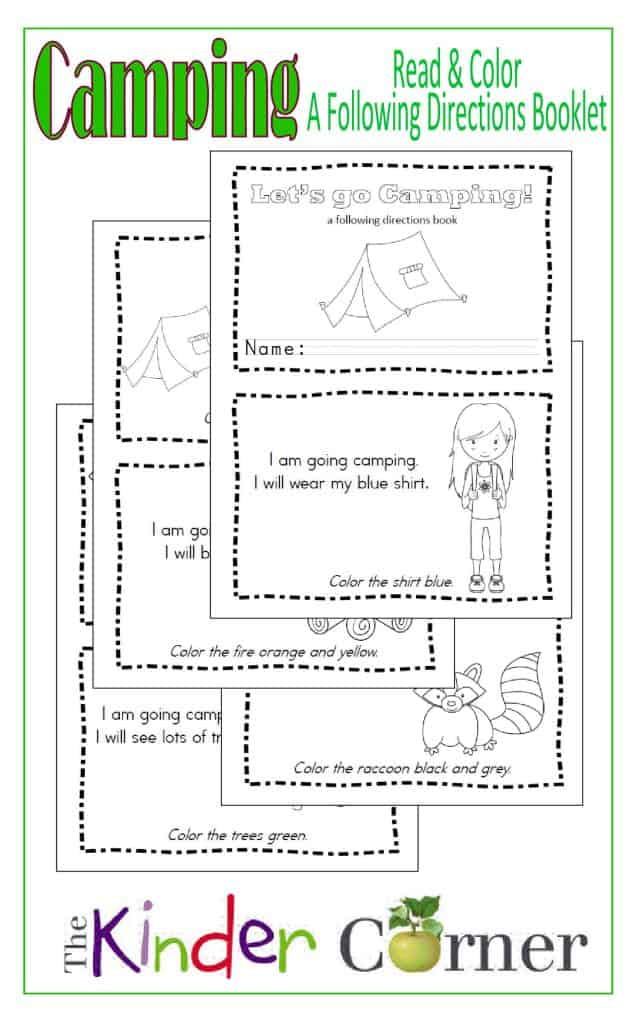 Camping Read & Color Booklet:  A following directions book free from The Curriculum Corner